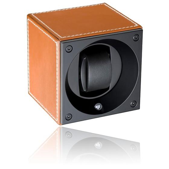 Ecrin Rotatif Masterbox Leather - Cognac Leather & White Stitches