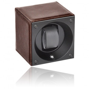 Ecrin Rotatif Masterbox Leather - Grained Brown Leather & Brown Stitches