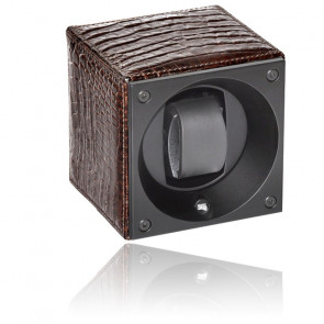 Ecrin Rotatif Masterbox Leather - Shiny Brown Appearance Leather & Brown Stitches