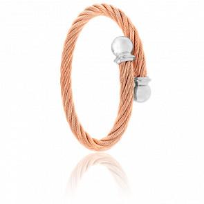Bracelet Celtic Cordon Acier Gris &  PVD Rose