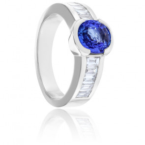 Bague Luna Saphir, Diamants & Or Blanc 18K