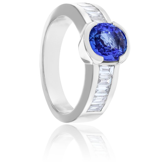 Bague Luna Saphir, Diamants & Or Blanc 18K