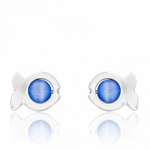Boucles d'Oreilles Dorice Perles de Verre Bleues & Argent