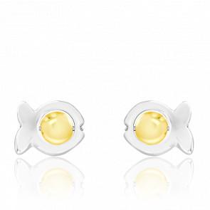 Boucles d'Oreilles Dorice Perles de Verre Jaunes & Argent