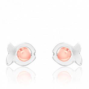 Boucles d'Oreilles Dorice Perles de Verre Oranges & Argent