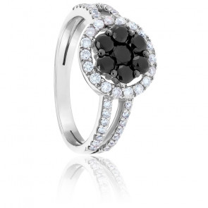 Bague Marguerite Diamants Noirs, Diamants & Or Blanc 18K