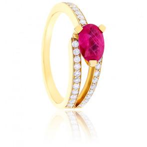 Bague Divine Rubis, Diamants & Or Jaune 18K