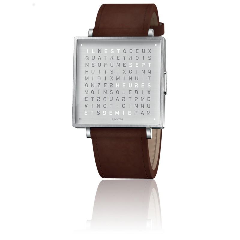 Qlocktwo W39 Fine Steel Leather Vintage Brown