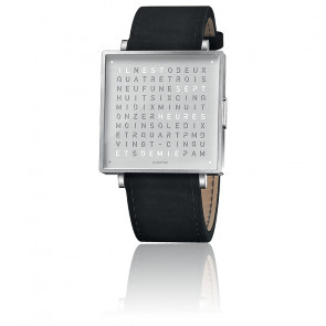 Qlocktwo W39 Fine Steel Leather Suede Black