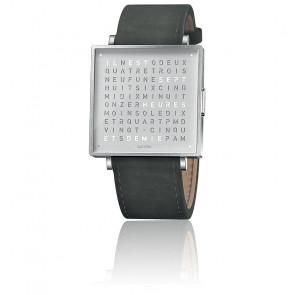 Qlocktwo W39 Fine Steel Leather Suede Anthracite