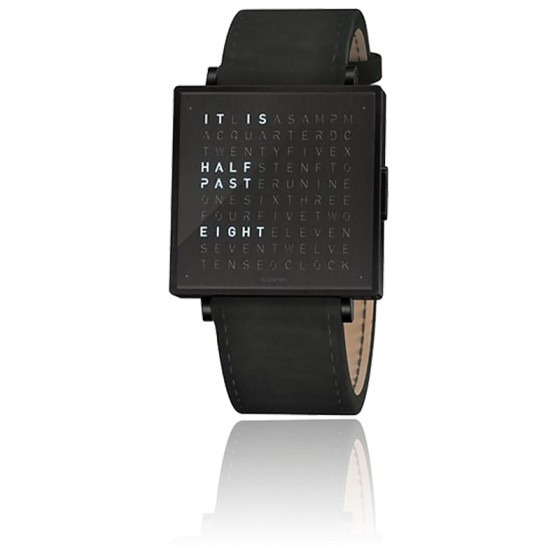 Qlocktwo W39 Black Steel Leather Suede Black