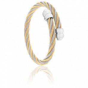 Bracelet Celtic Double Cordon Acier & PVD Jaune Alterné
