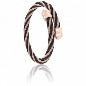Bracelet Celtic Double Cordon Acier,  PVD Noir & Rose Alterné