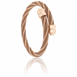 Bracelet Celtic Doube Cordon Acier, PVD Rose & Bronze Alterné