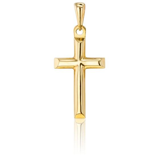 Croix Bombée Biseautée Creuse Or Jaune 18K