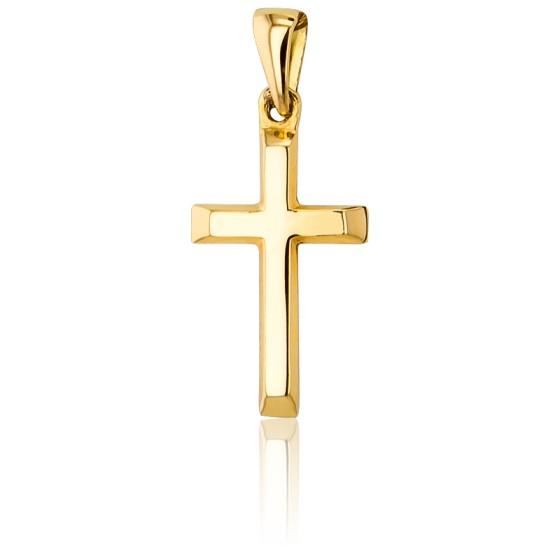 Croix Biseautée Creuse Bombée Or Jaune 9K