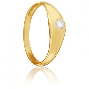 Chevalière Moyenne Anglaise Diamant Or Jaune 18K