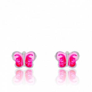Boucles d'Oreilles Papillon Rose Argent