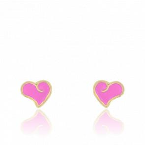 Boucles d'Oreilles Cœur Rose Or Jaune 9K