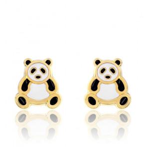 Boucles d'Oreilles Panda Or Jaune 18K