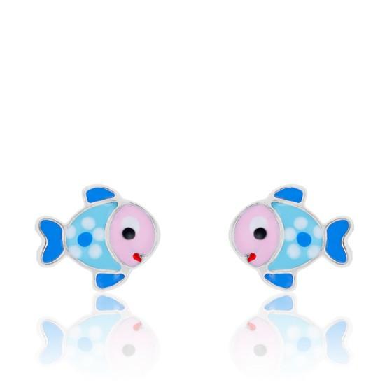 Boucles oreilles poisson en argent massif 925 poissons animaux