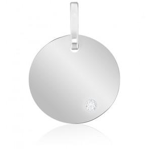Médaille ronde à graver, diamant & or blanc 18K