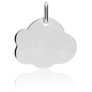 Médaille Gravable Nuage GM Or Blanc 18K