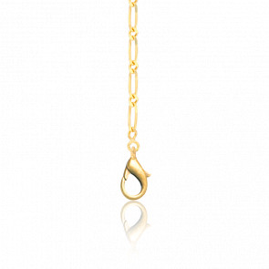 Chaîne Maille Cheval Alternée, Or Jaune 18K, longueur 65 cm