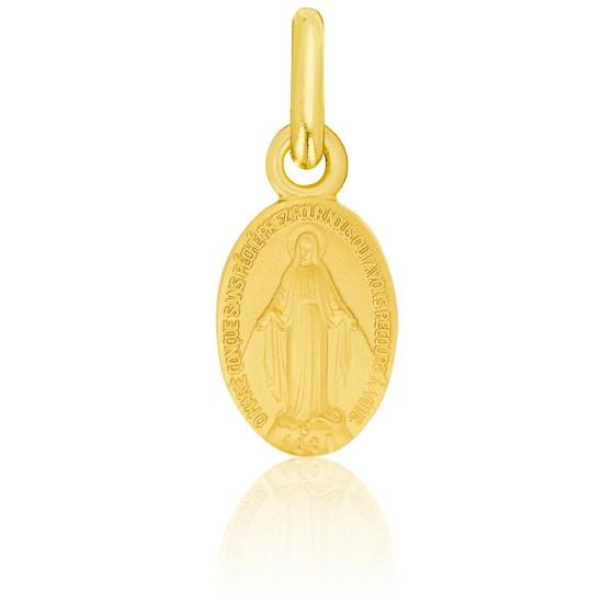 Médaille Vierge Miraculeuse et Cœurs Enlacés Or Jaune 18K