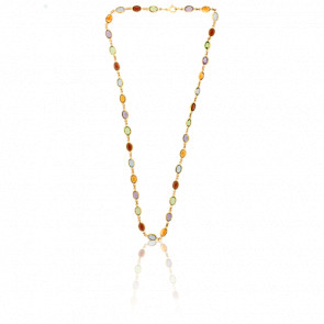 Collier Pierres Multicolores & Or Jaune 18K