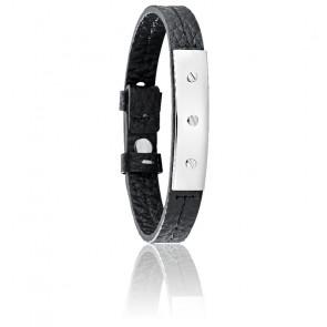 Bracelet Vela Cuir Noir & Acier SAJC04