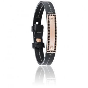 Bracelet Vela Cuir Noir Zircons & Acier Rose SAJC03