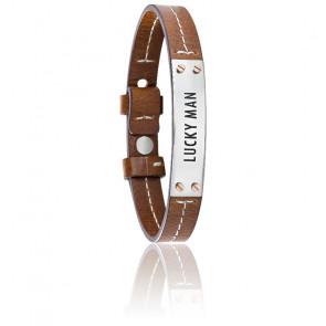 Bracelet Vela Lucky Man Cuir Marron & Acier