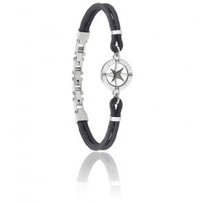 Bracelet Versilia Nylon Noir & Acier