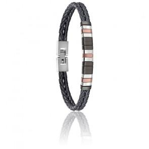 Bracelet Moody Cuir Tressé & acier SAEV34