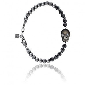 Bracelet Nobile Perles & Acier Noir