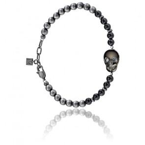 Bracelet Nobile Perles & Acier Noir SAKB19