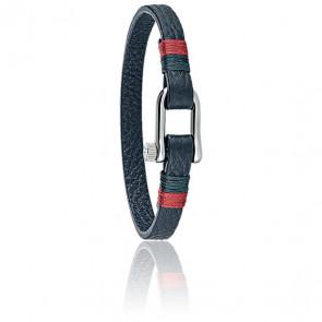 Bracelet Vela Cuir Bleu & Acier SAJC06