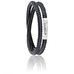 Bracelet Moody Cuir Tressé Noir & Acier