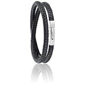 Bracelet Moody Cuir Tressé Noir & Acier SQH17