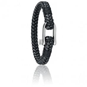 Bracelet Vela Cuir Noir Tressé & Acier