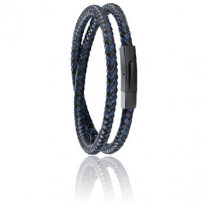 Bracelet Moody Noir & Bleu Cuir Tressé Acier