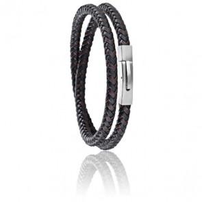 Bracelet Moody Bicolore Cuir Tressé Acier