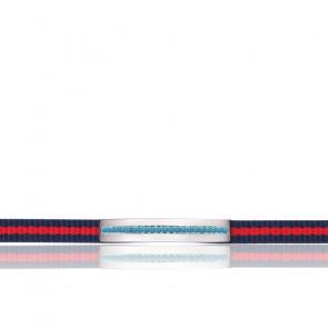 Bracelet Nato Nylon Zircons Bleus & Acier SAJD07