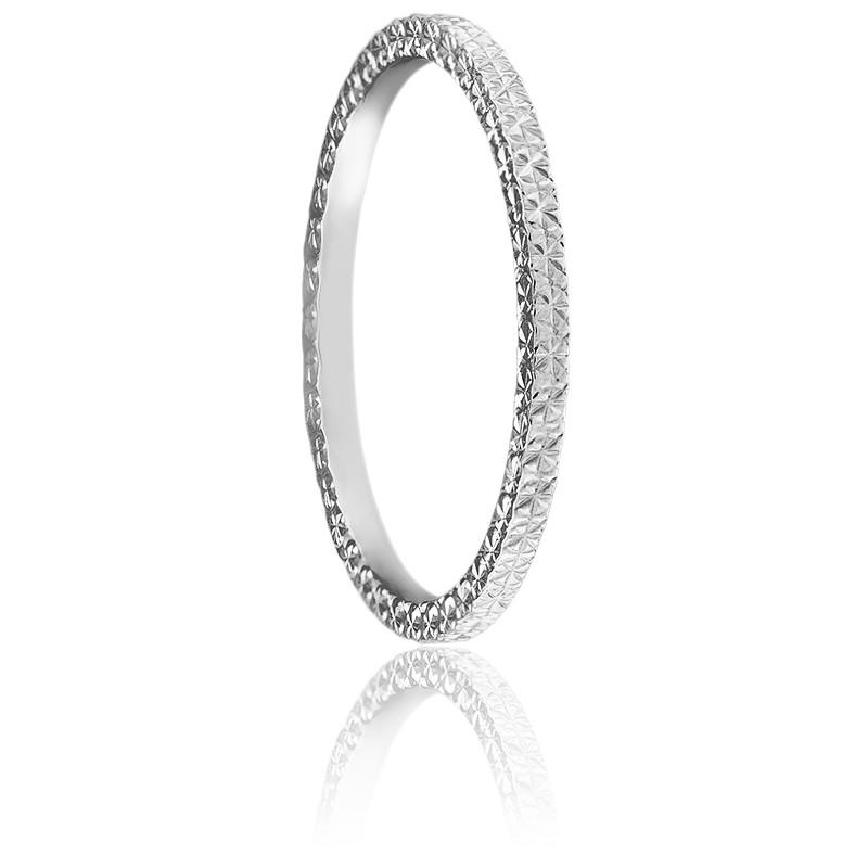 Alliance Ruban Confort Diamanté Or Blanc 18K