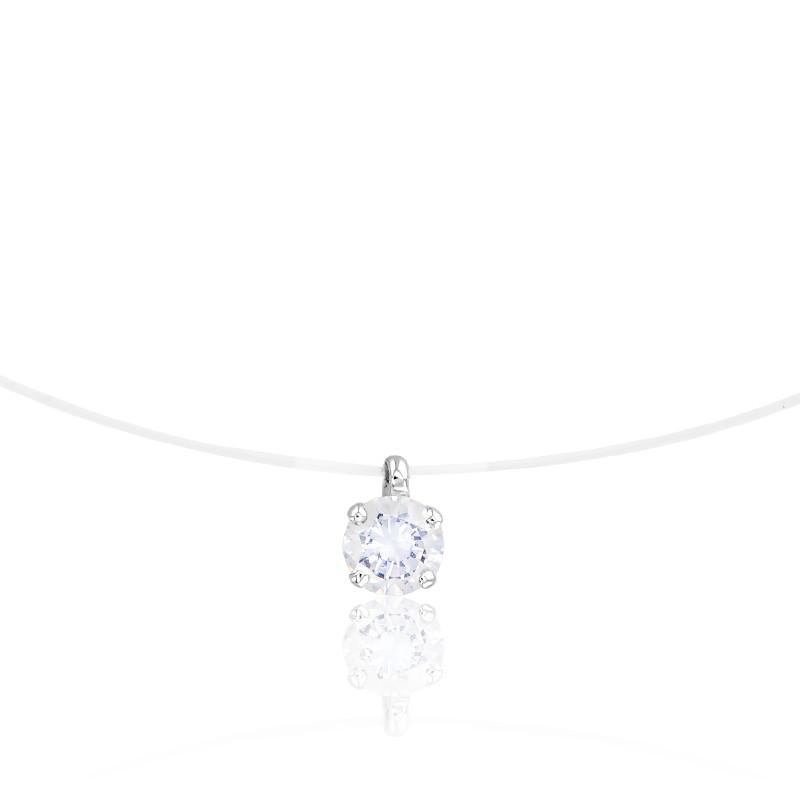Collier Fil de Pêche, Diamant & Or Blanc 18K