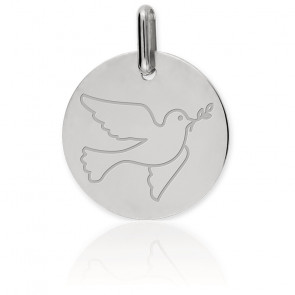 Médaille Colombe Or Blanc 9K