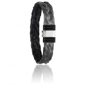 Bracelet 690N Poils Girafe Tressé Noir, Acier & Or Blanc 18K