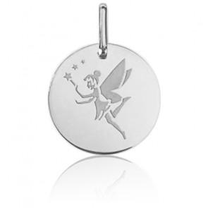 Médaille Fée Aux Etoiles Or Blanc 9K