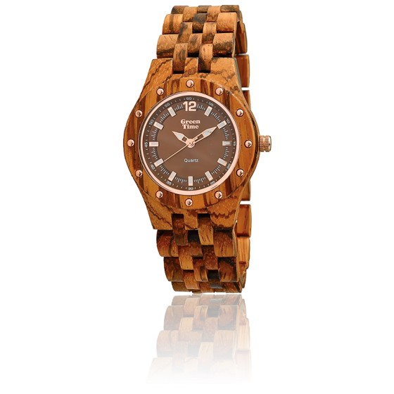 Montre Zebrano Wood ZW055B - GReen Time - Ocarat